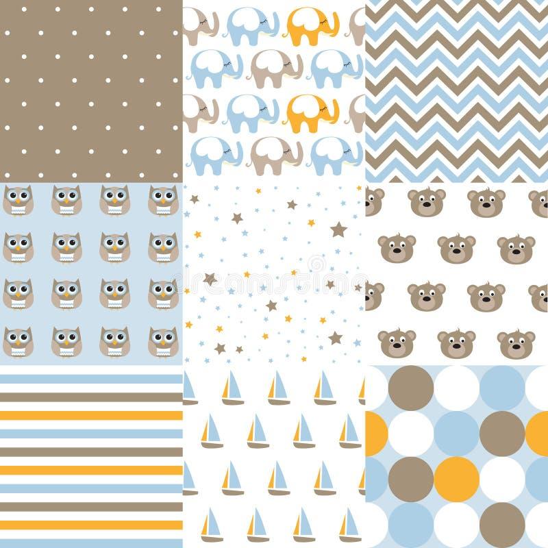 Set of baby boy patterns. Seamless  pattern vector.  Design elements. royalty free illustration