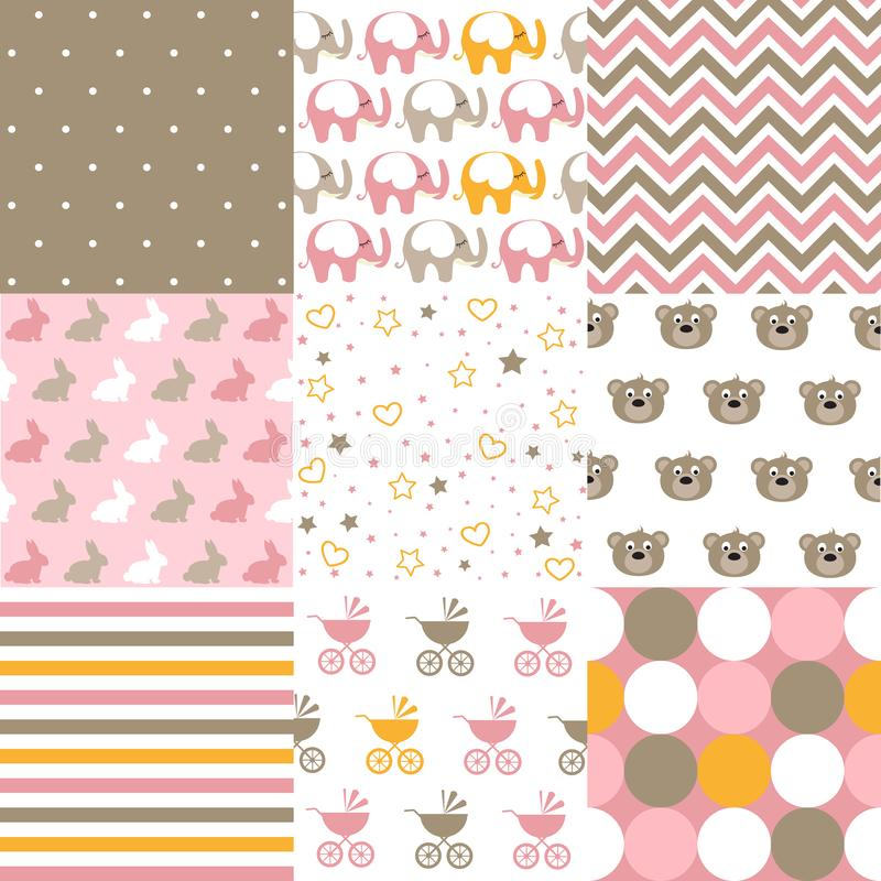 Set of baby girl patterns. Seamless pattern vector. Graphic design elements stock illustration