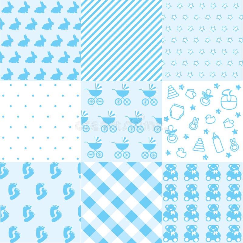 Set of baby boy patterns. Seamless blue pattern vector. Graphic design elements vector illustration
