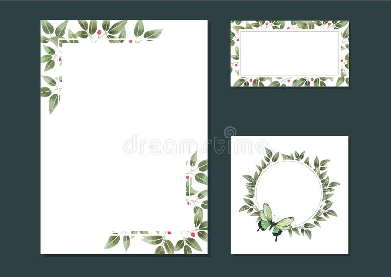 Leave watercolor Hand drawn Floral Wedding Card template. Hand drawn Floral Wedding Card template, green Card of empty frames for invitation card royalty free illustration