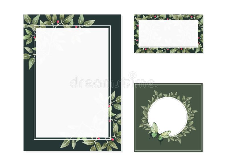 Leave watercolor Hand drawn Floral Wedding Card template. Hand drawn Floral Wedding Card template, green Card of empty frames for invitation card vector illustration