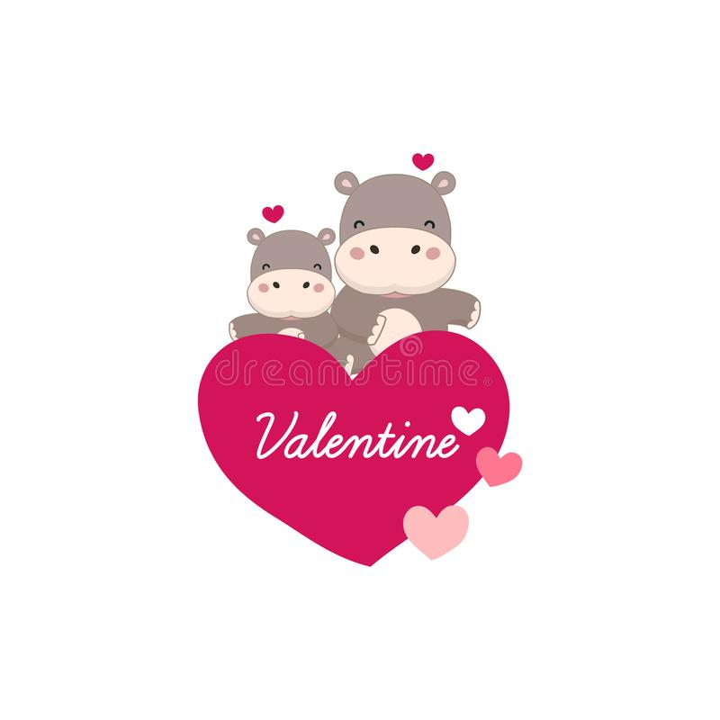Happy valentine greeting card.Couple Hippo with big pink heart. royalty free illustration