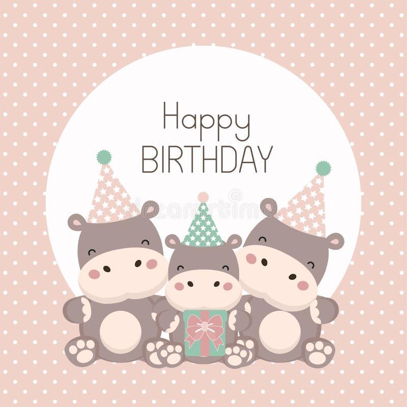 Happy birthday card with cute hippopotamus cartoon. royalty free illustration