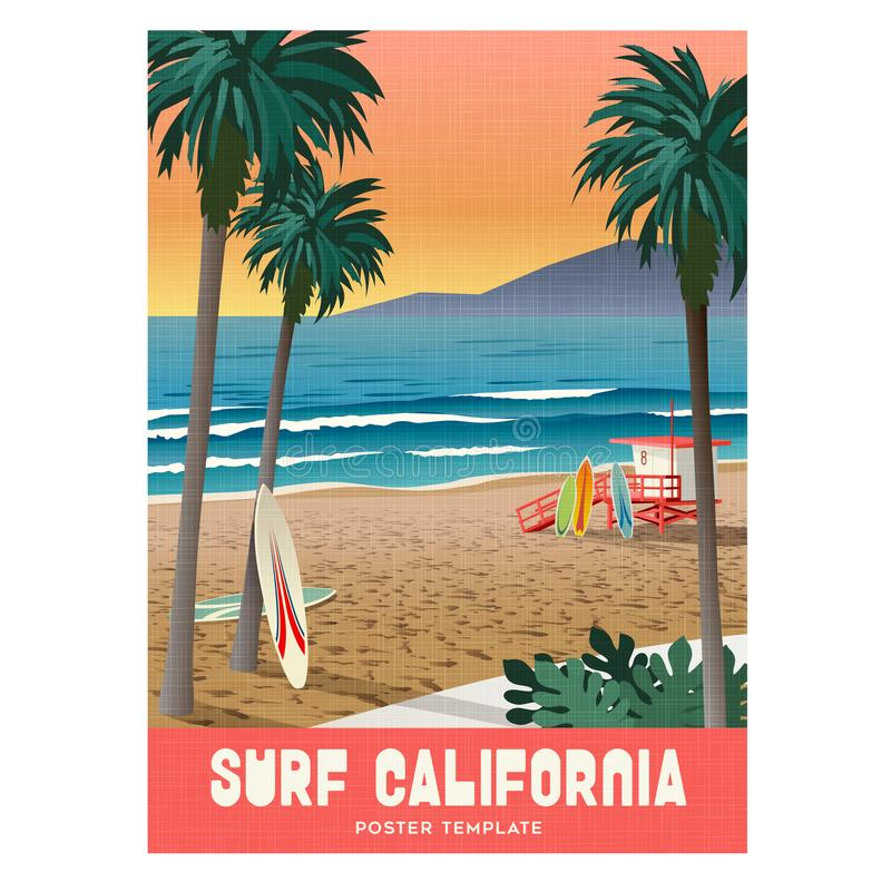California beach surfing travel poster with sunset and palm trees. stock illustration