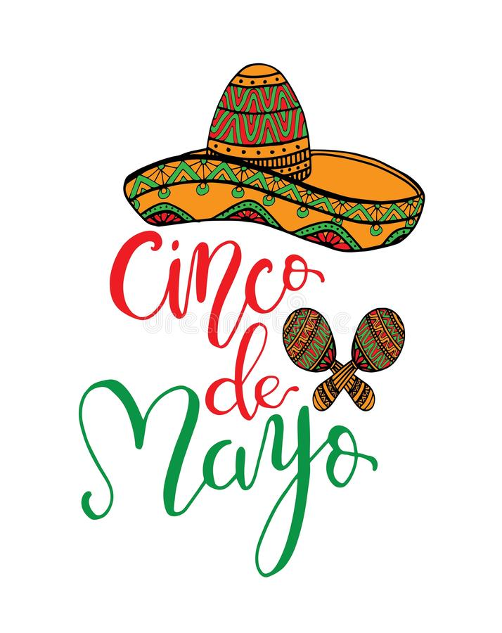 Cinco de Mayo hand written lettering quote with sombrero. Modern brush calligraphy. National colors of mexico. - Illustrationn vector illustration