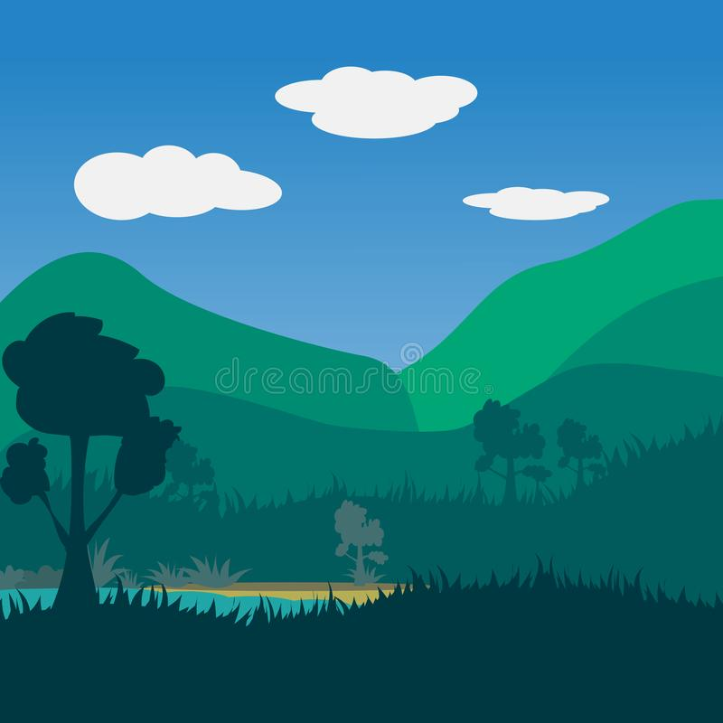 Landscape nature river and forest mountain with blue sky and clouds background stock photo