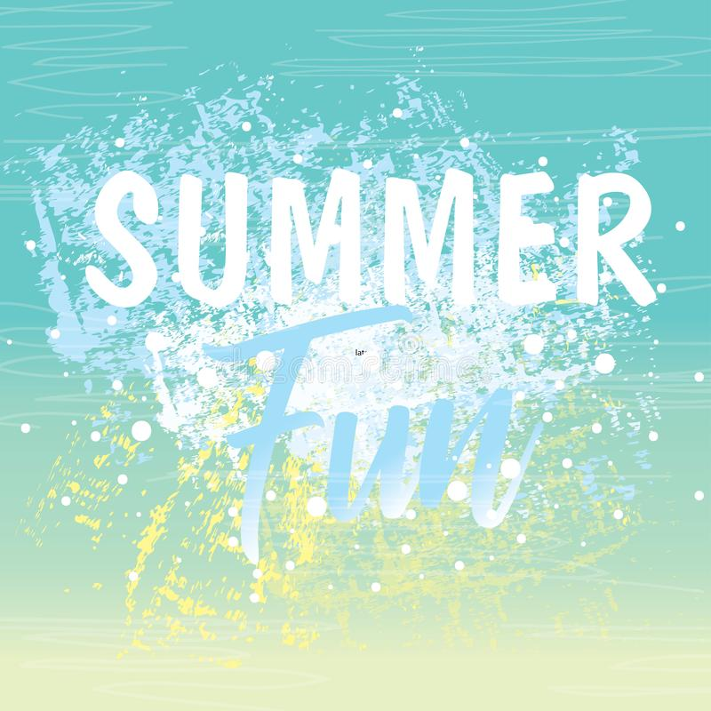 Summer time background with text - illustration. Bright summer card royalty free illustration