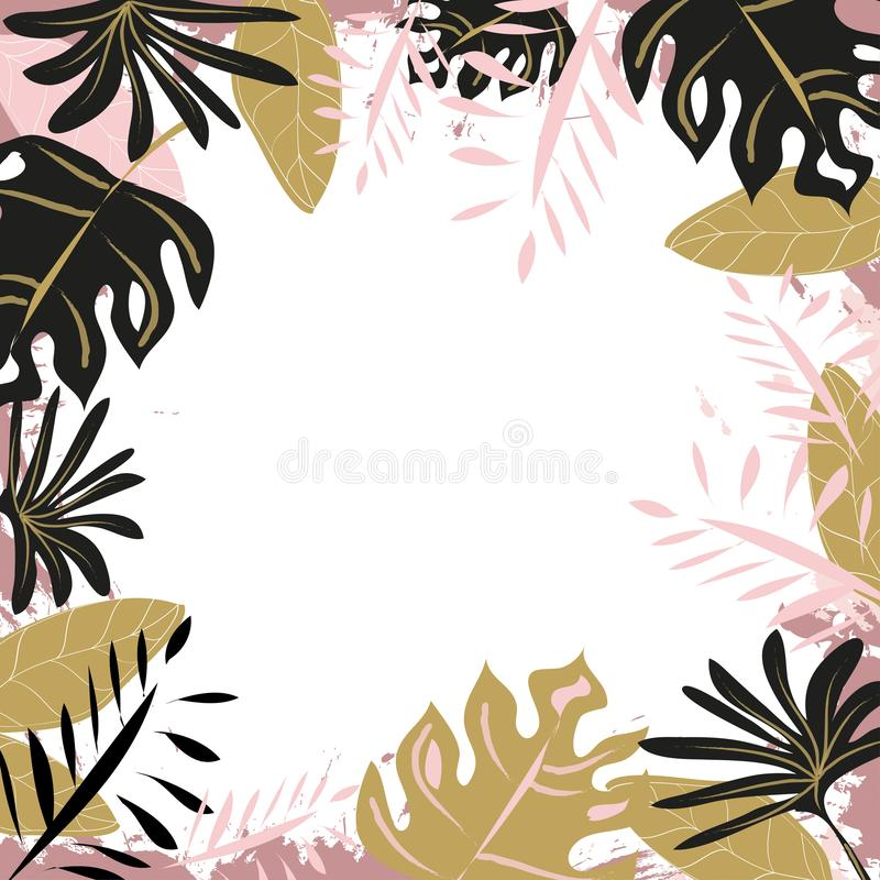 Exotic  Frame Pattern of Tropical Bright colorful leaves. On white backround stock illustration