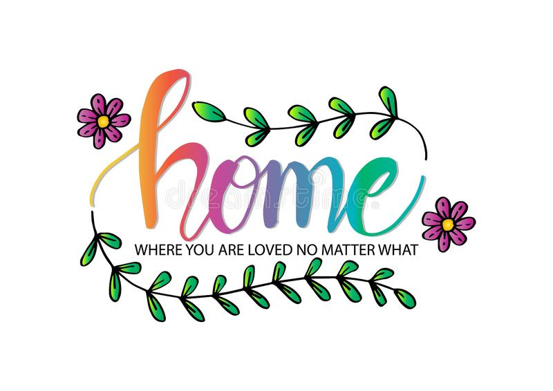 Home where you are loved no matter what. Motivational quote. Wall decoration stock illustration