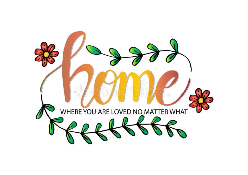 Home where you are loved no matter what. Motivational quote. Wall decoration royalty free illustration
