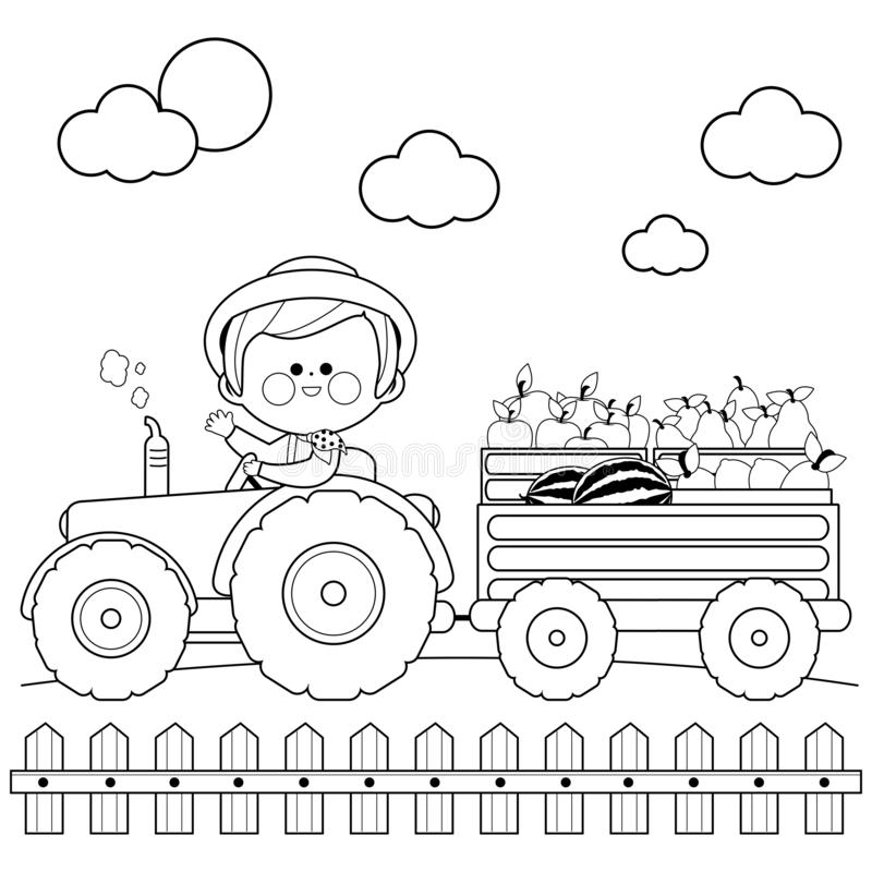 Farmer at the farm driving a tractor and carrying fruits. Black and white coloring book page vector illustration
