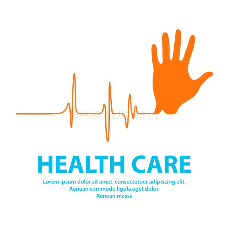 Hand with ecg line, Health Care and medical technology background. vector illustration. Hand with ecg line, Health Care and medical technology background royalty free illustration