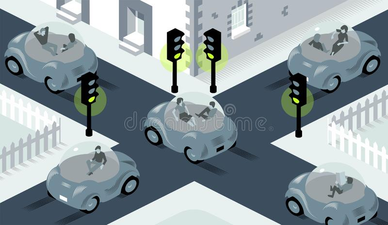 Illustration of self driving cars crossing on busy intersection, where lights are all set to green royalty free illustration