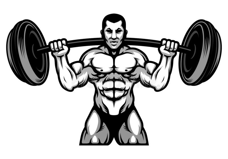 PrintStrong Powerlifting and Bodybuilding Athlete with Big Barbel Black and White Illustration royalty free illustration