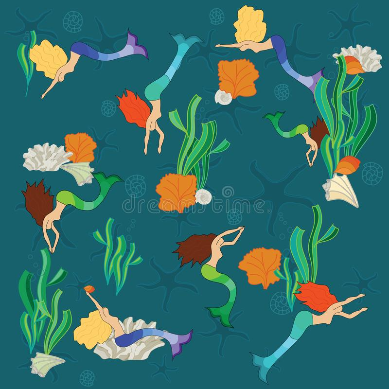 Mermaids party time! stock image
