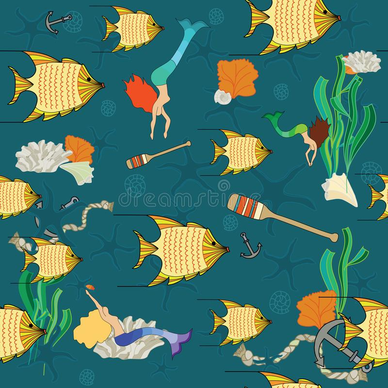 Golden fishes and colorful Mermaids stock illustration