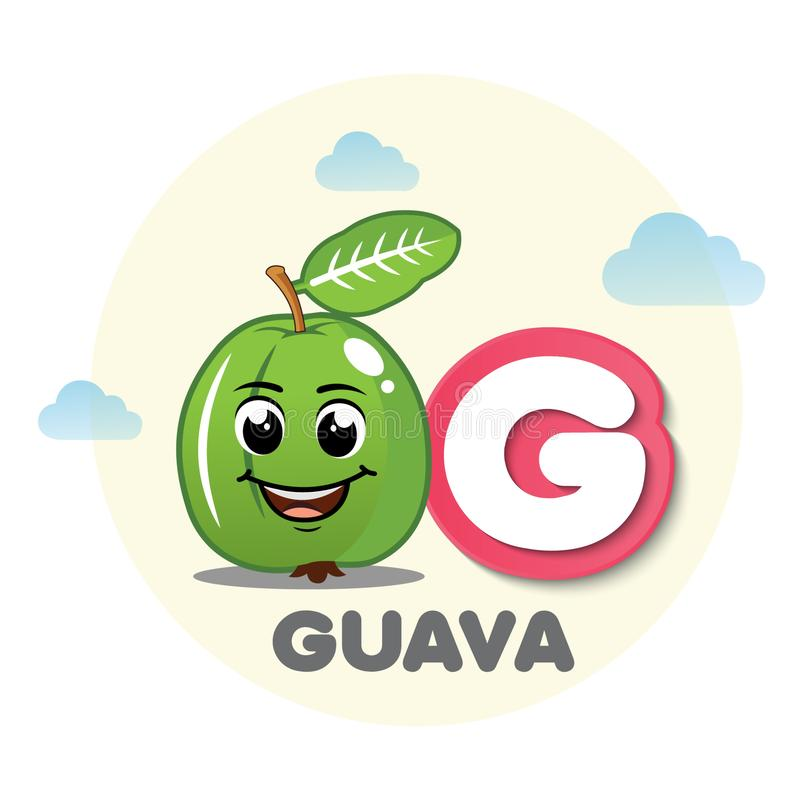 Guava mascot with letter G royalty free illustration