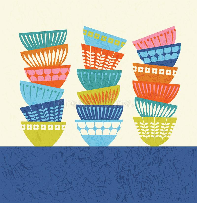 Stacked colorful kitchen bowls with mid century modern designs. stock illustration