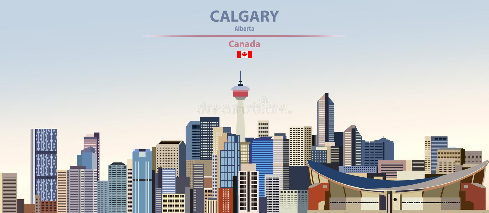 Vector illustration of Calgary city skyline on colorful gradient beautiful day sky background with flag of Canada. Vector illustration of Calgary city skyline on stock illustration