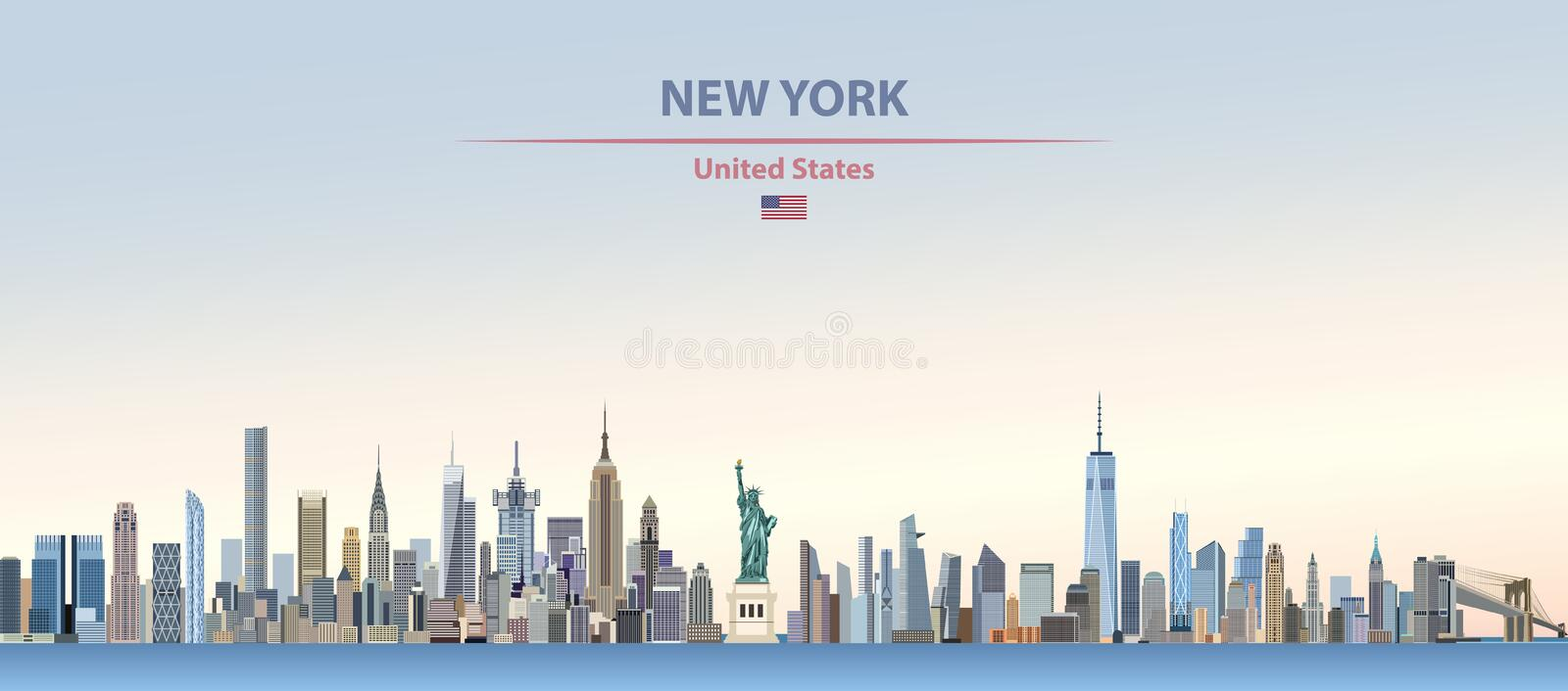 Vector illustration of New York city skyline on colorful gradient beautiful day sky background with flag of United States royalty free illustration