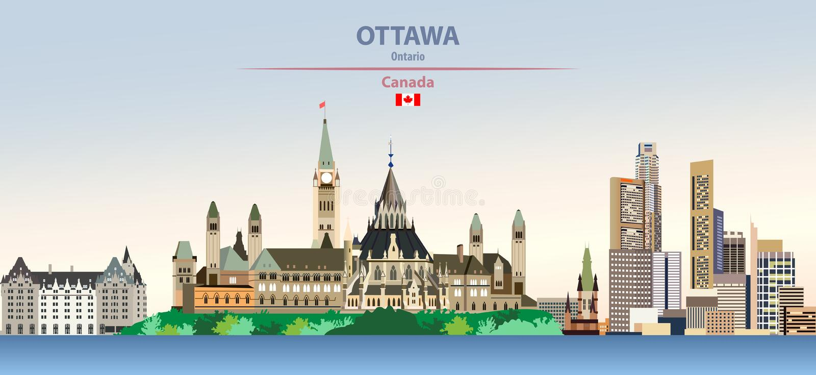 Vector illustration of Ottawa city skyline on colorful gradient beautiful day sky background with flag of Canada stock illustration