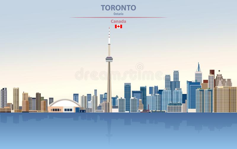 Vector illustration of Toronto city skyline on colorful gradient beautiful day sky background. With flag of Canada stock illustration