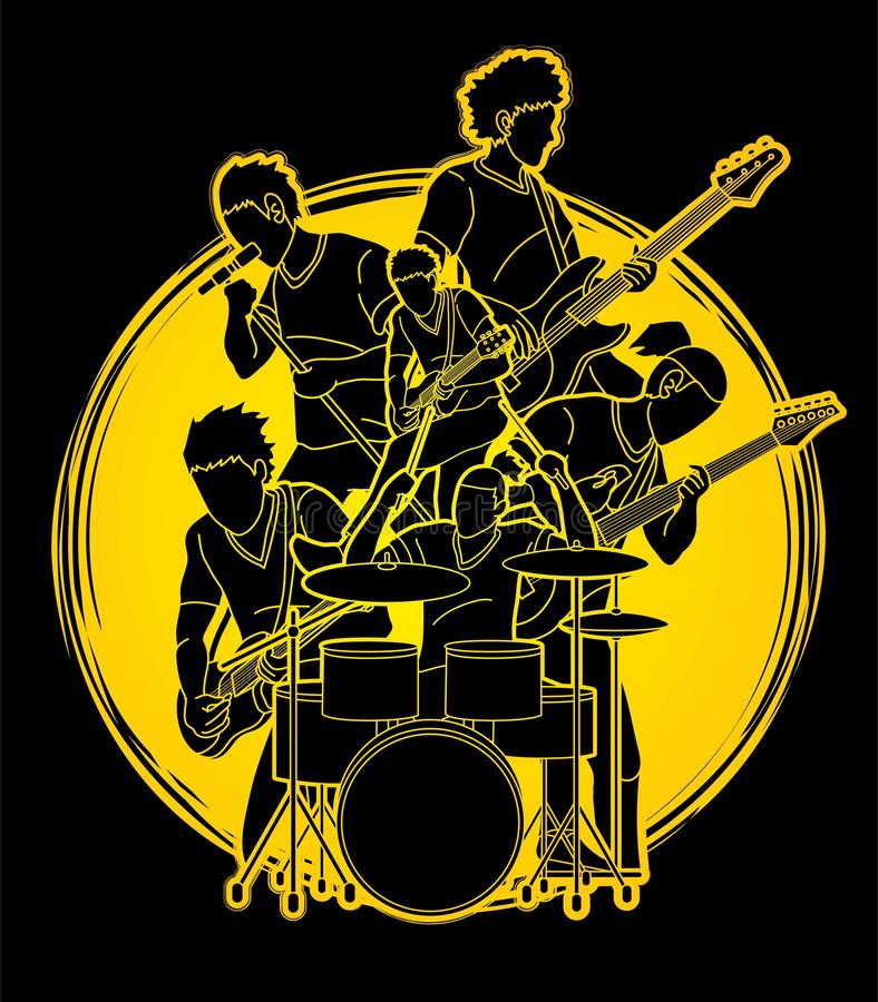 Musician playing music together, Music band graphic stock illustration