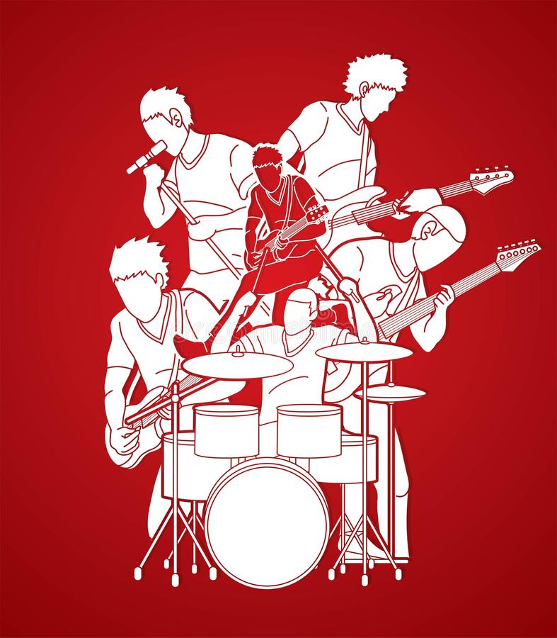 Musician playing music together, Music band graphic royalty free illustration