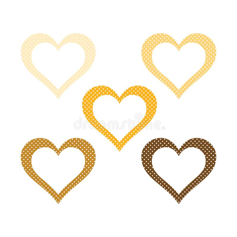 Hearts set, deep yellow heart icon vector illustration stock images