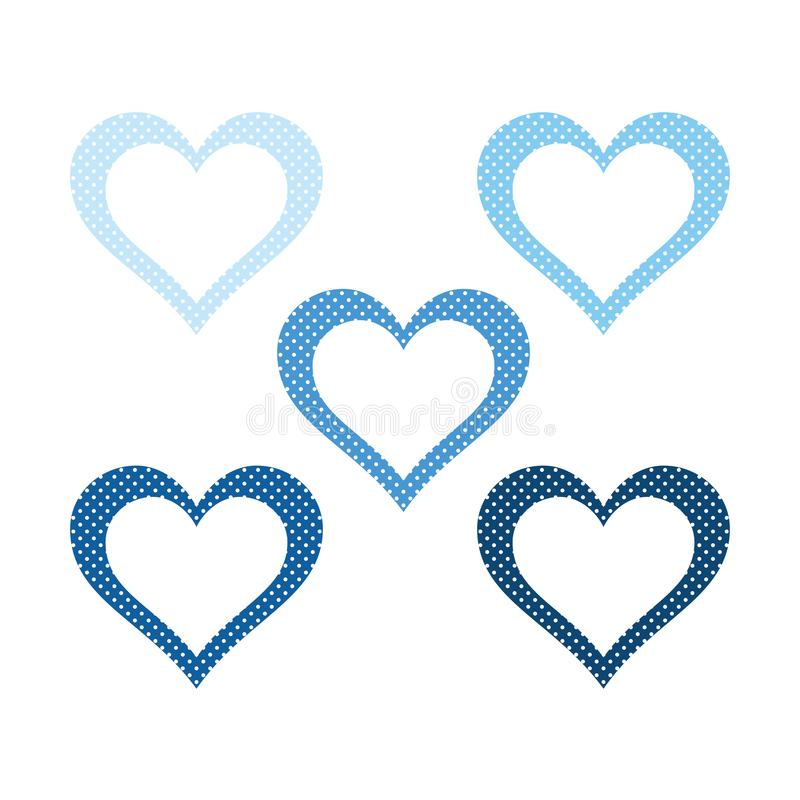 Hearts set, ice blue heart icon vector illustration royalty free stock images