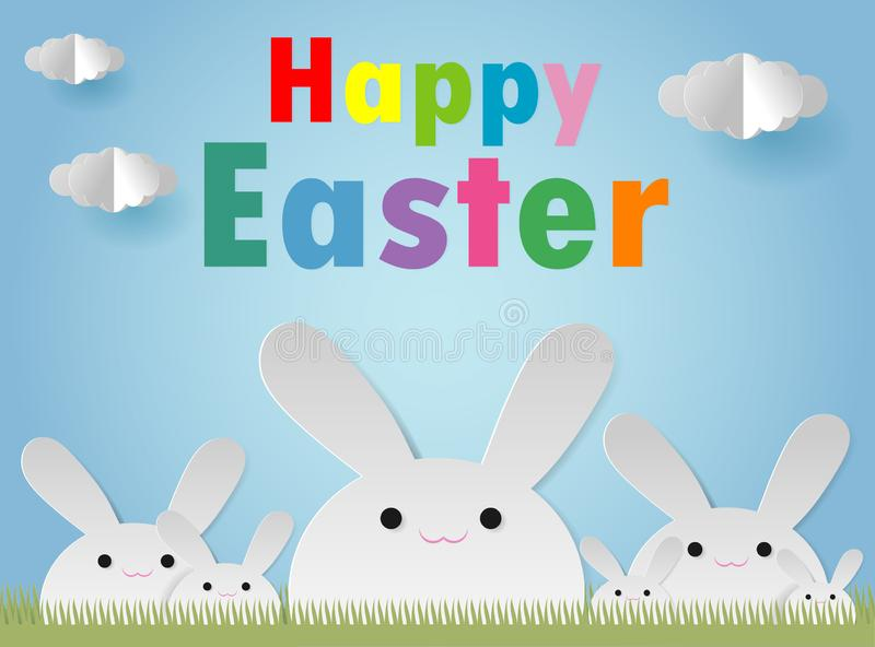 Happy Easter Rabbit Bunny greeting card on blue sky background. Easter banner template, Paper cut and craft style. Origami Vector. stock illustration