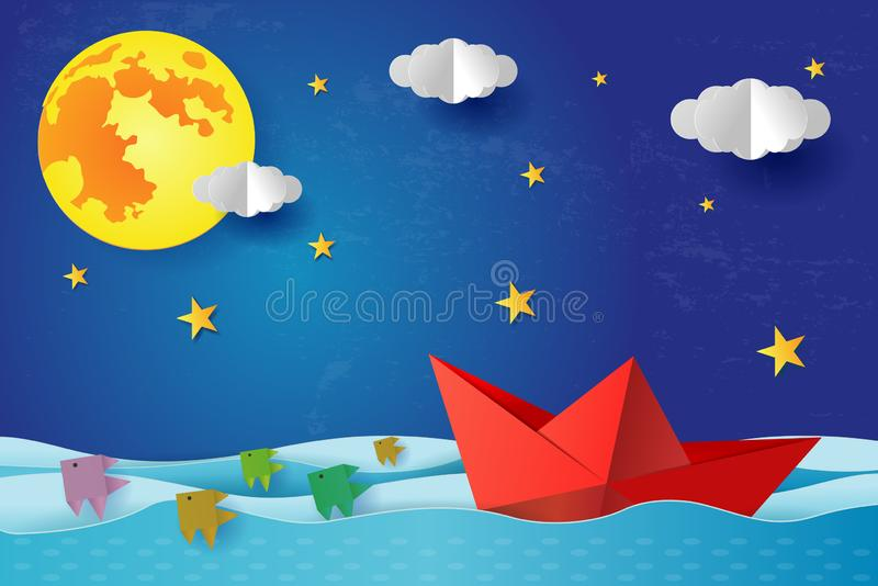 Origami Paper boat at night on blue sea ocean. Surreal seascape with full moon with clouds and star, paper art stock illustration