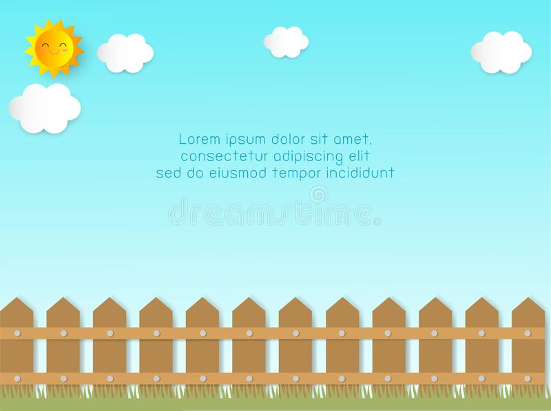 Fence with clouds and sun Background Template for advertising brochure, your text, paper art and craft style, vector Illustration. Fence with clouds and sun vector illustration