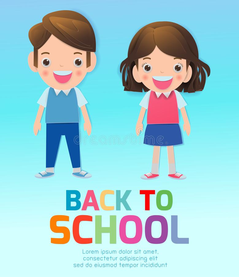 Back to school banner background. back to school, kids school, education concept, Kids go to school, Paper cut and craft style. stock illustration