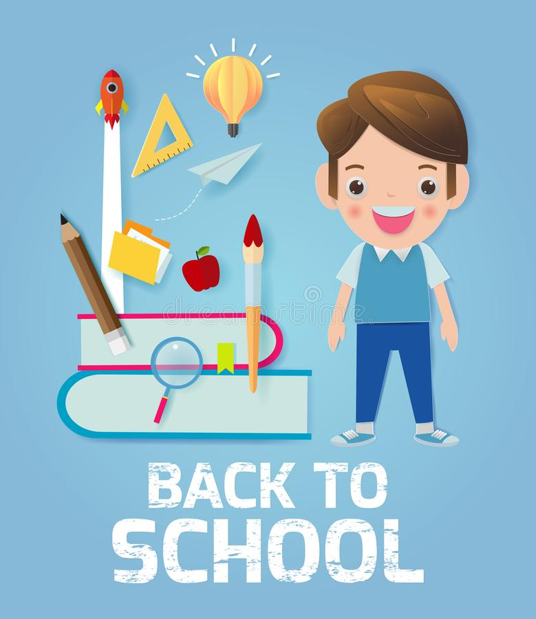 Back to school banner background. back to school, kids school, education concept, Kids go to school, Paper cut and craft style. vector illustration