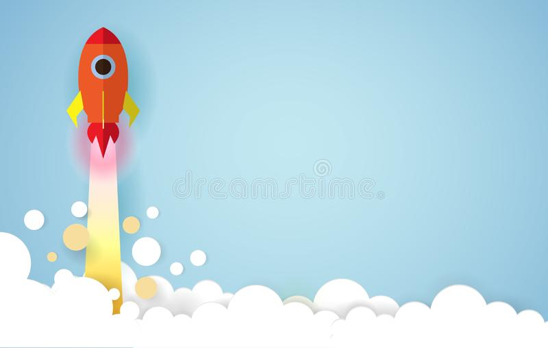 Paper art style of Rocket launch in the sky on a blue background with copy space, Startup Concept, Vector Illustration for Web royalty free illustration