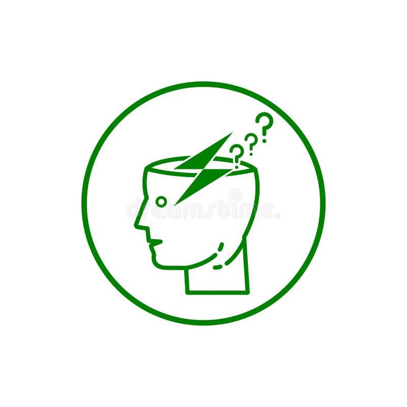 Idea, bulb, light, energy bulb, head, thinking, creative business idea green color icon. Idea, bulb, light, energy bulb, creative business idea grey color icon royalty free illustration