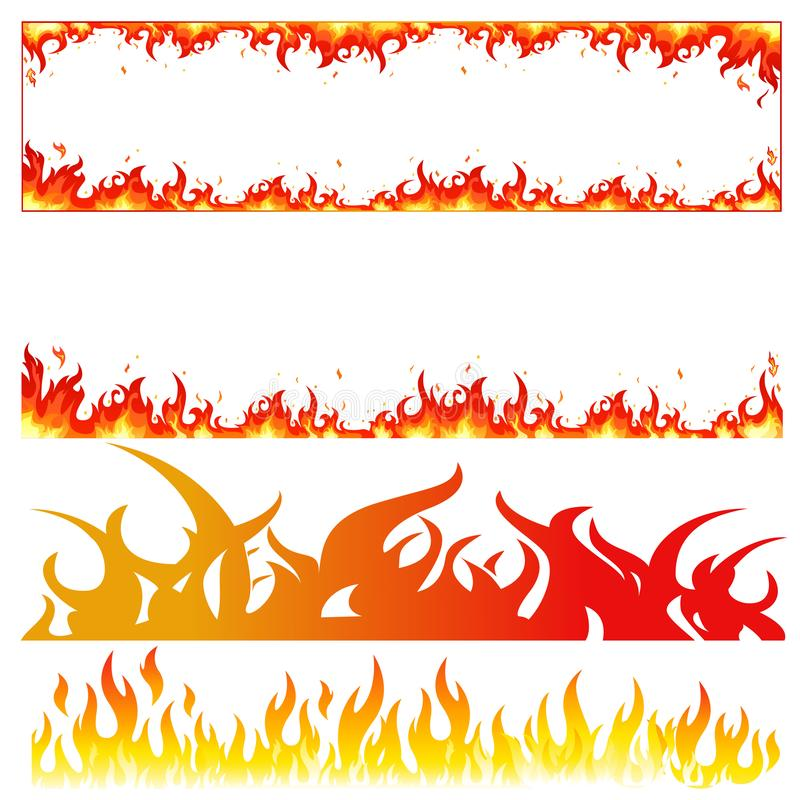 Fire burning flame modes. Different designs of fire signs burning with vectors stock illustration