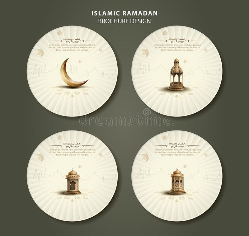 Islamic greeting ramadan kareem circle brochure templates design stock illustration