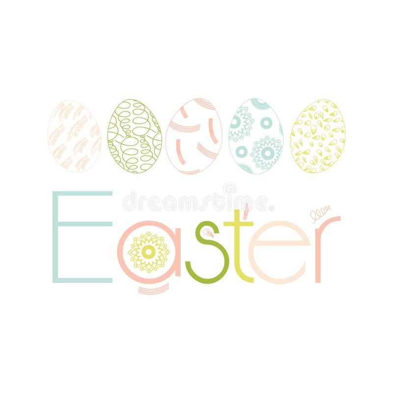 Set of hand drawn ink eggs in fresh pastel colors for Easter greeting card, vintage design, vector isolated. vector illustration