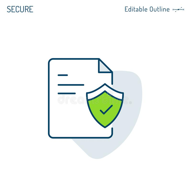 Confidential document icon, Cyber Secure data, Shield icon, Policies regulation, Corporate Business office files, Editable stroke royalty free illustration