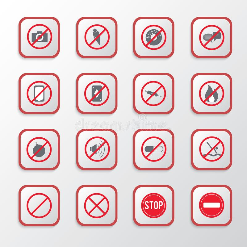 Set of prohibition icons or warning signs on red button, Signs and symbols vector royalty free illustration