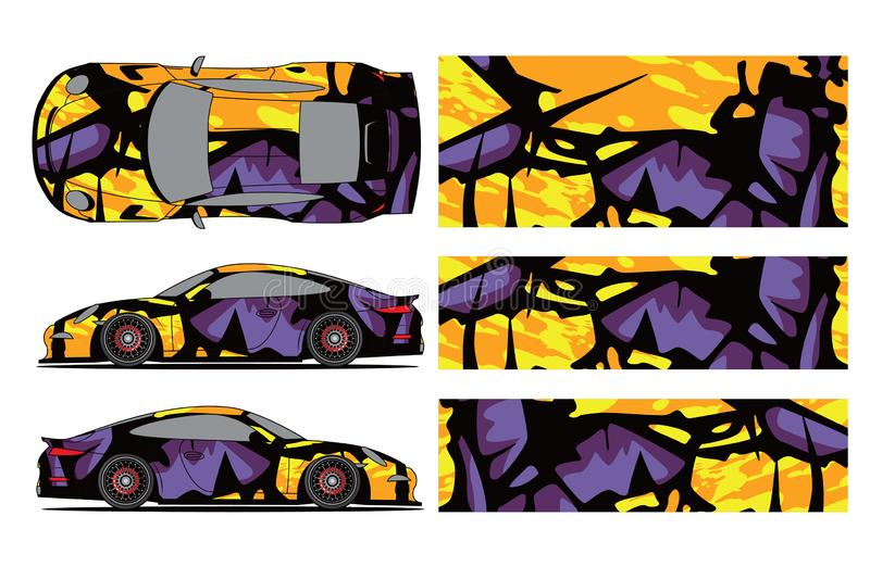 Car decal wrap design vector. Graphic abstract stripe racing background kit designs for wrap vehicle, race car, rally, vector illustration