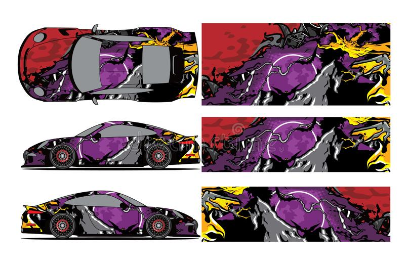 Car decal wrap design vector.Car decal wrap design vector. Graphic abstract stripe racing background kit designs for wrap vehicle, royalty free illustration