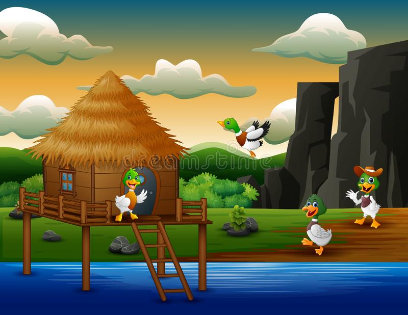 Cartoon ducks flies to a hut on the river. Illustration of Cartoon ducks flies to a hut on the river royalty free illustration