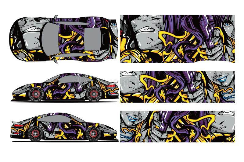 Car decal wrap design vector. Graphic abstract stripe racing background kit designs for wrap vehicle, race car, rally,. Adventure and livery - Vector vector illustration