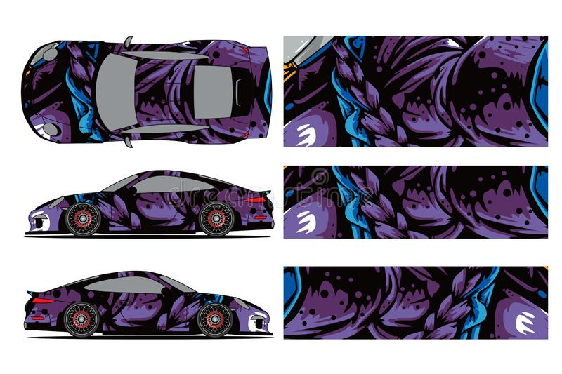 Car decal wrap design vector. Graphic abstract stripe racing background kit designs for wrap vehicle, race car, rally, stock illustration