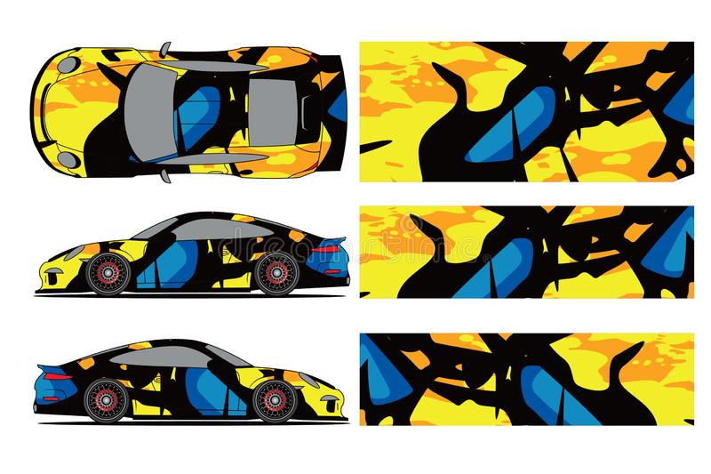 Car decal wrap design vector. Graphic abstract stripe racing background kit designs for wrap vehicle, race car, rally,. Adventure and livery - Vector royalty free illustration