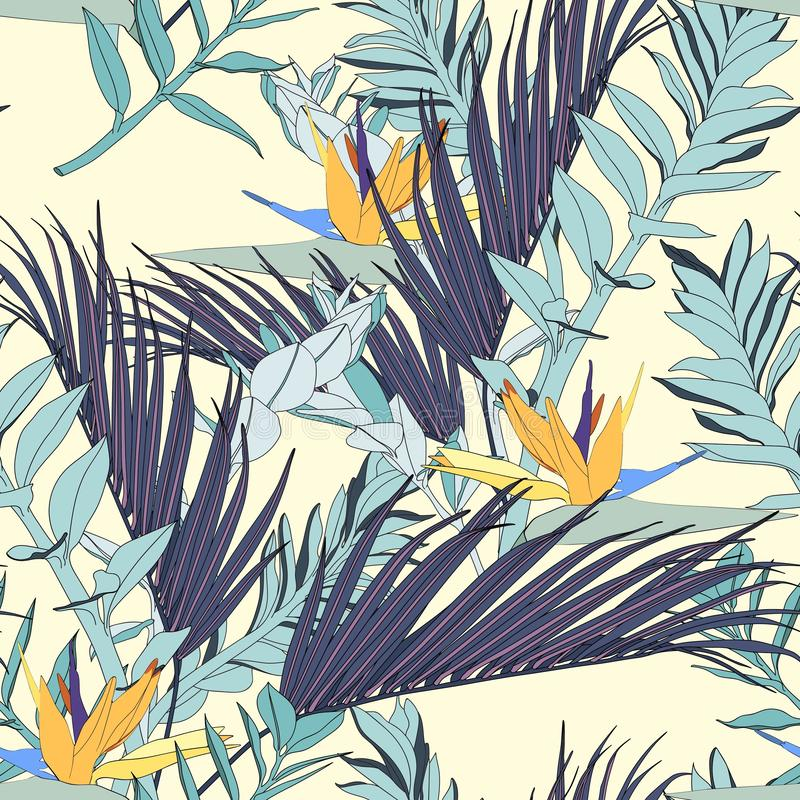 Strelitzia flowers with exotic blue palms leaves, light yellow background. stock illustration