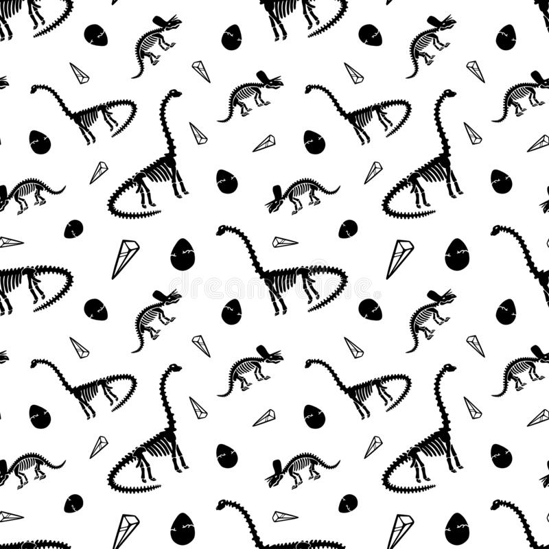 Dinosaur skeleton and fossils. Vector seamless pattern. royalty free stock image